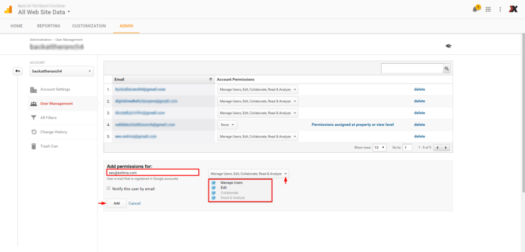 Google Analytics Admin step 5