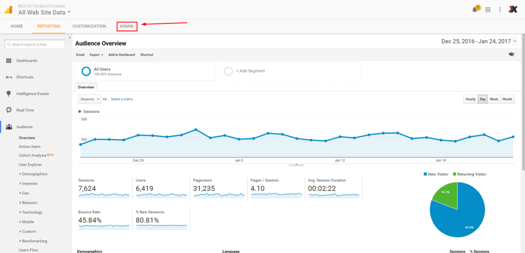 Google Analytics Admin step 3